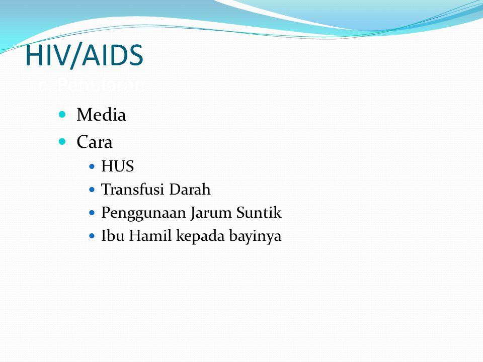 HIV/AIDS c. Penularan Media Cara HUS Transfusi Darah Penggunaan Jarum Suntik Ibu Hamil kepada bayinya