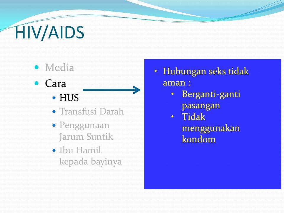HIV/AIDS c. Penularan Media Cara HUS Transfusi Darah Penggunaan Jarum Suntik Ibu Hamil kepada bayinya Hubungan seks tidak aman : Berganti-ganti pasang