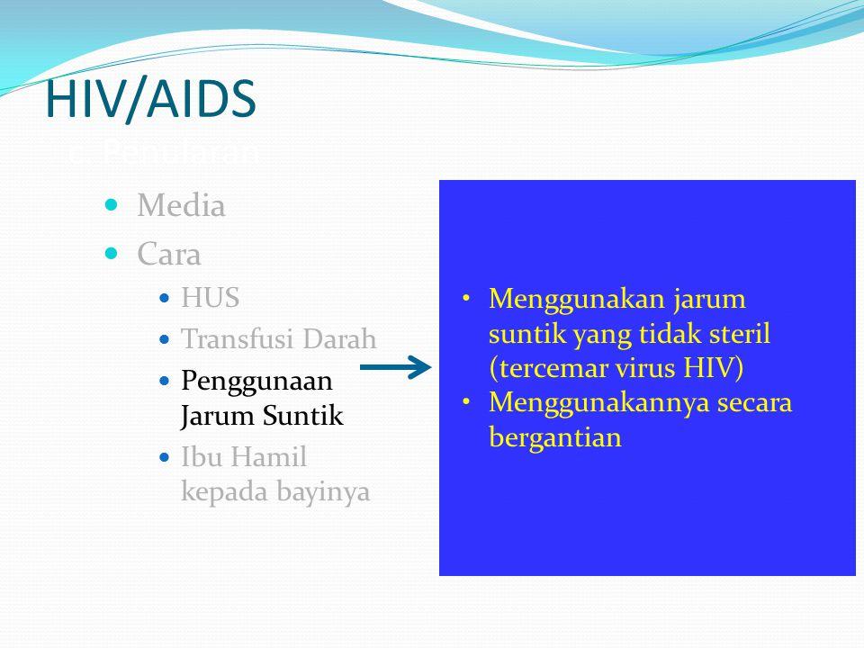 HIV/AIDS c. Penularan Media Cara HUS Transfusi Darah Penggunaan Jarum Suntik Ibu Hamil kepada bayinya Menggunakan jarum suntik yang tidak steril (terc
