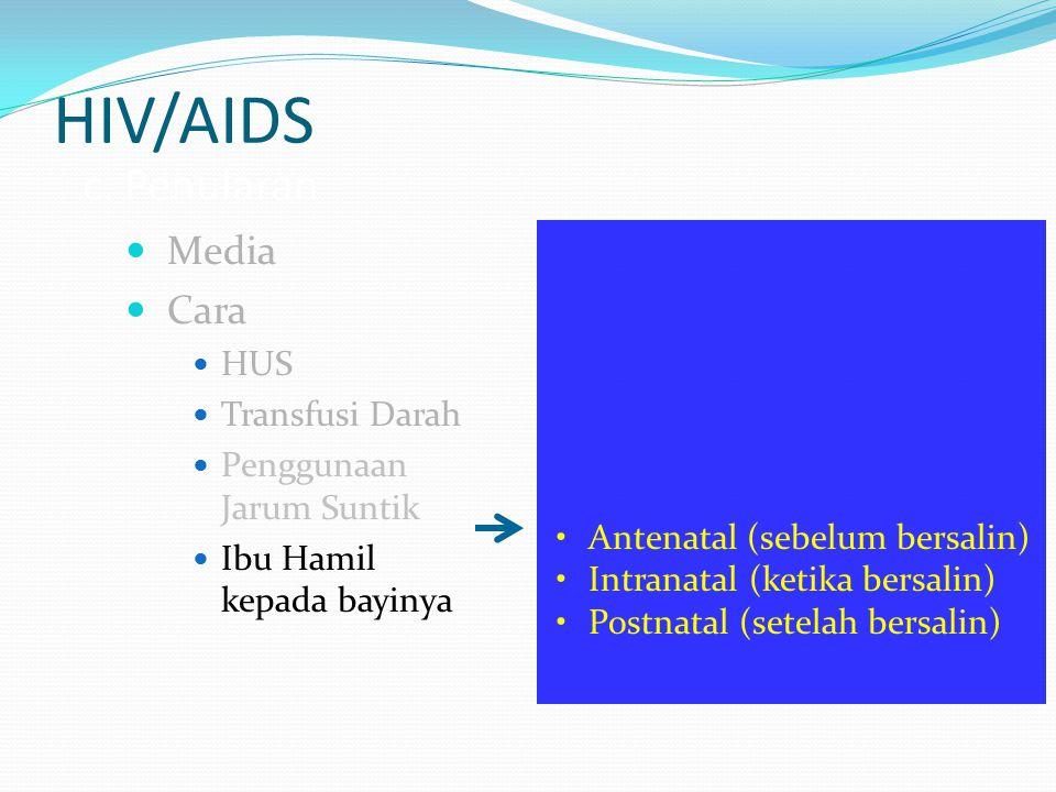 HIV/AIDS c. Penularan Media Cara HUS Transfusi Darah Penggunaan Jarum Suntik Ibu Hamil kepada bayinya Antenatal (sebelum bersalin) Intranatal (ketika
