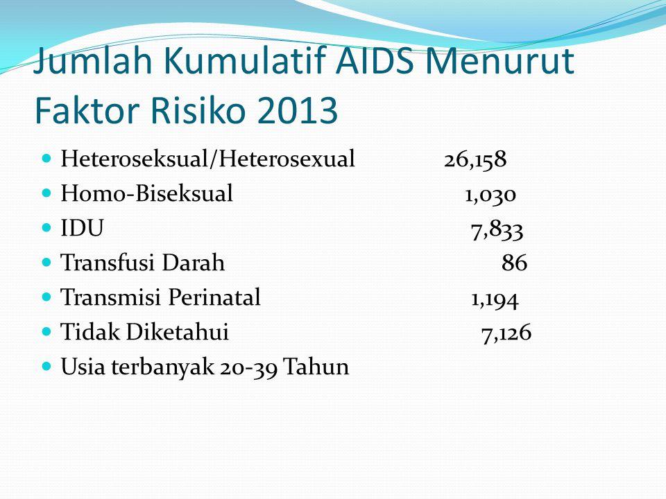 Jumlah Kumulatif AIDS Menurut Faktor Risiko 2013 Heteroseksual/Heterosexual 26,158 Homo-Biseksual 1,030 IDU 7,833 Transfusi Darah 86 Transmisi Perinatal 1,194 Tidak Diketahui 7,126 Usia terbanyak 20-39 Tahun