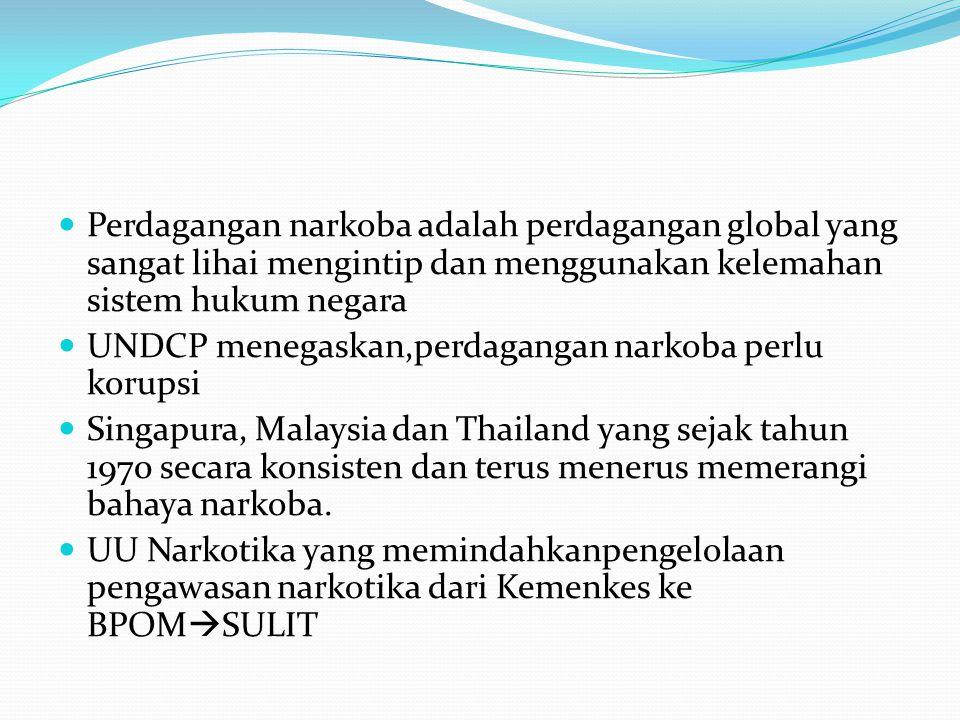 Perdagangan narkoba adalah perdagangan global yang sangat lihai mengintip dan menggunakan kelemahan sistem hukum negara UNDCP menegaskan,perdagangan narkoba perlu korupsi Singapura, Malaysia dan Thailand yang sejak tahun 1970 secara konsisten dan terus menerus memerangi bahaya narkoba.