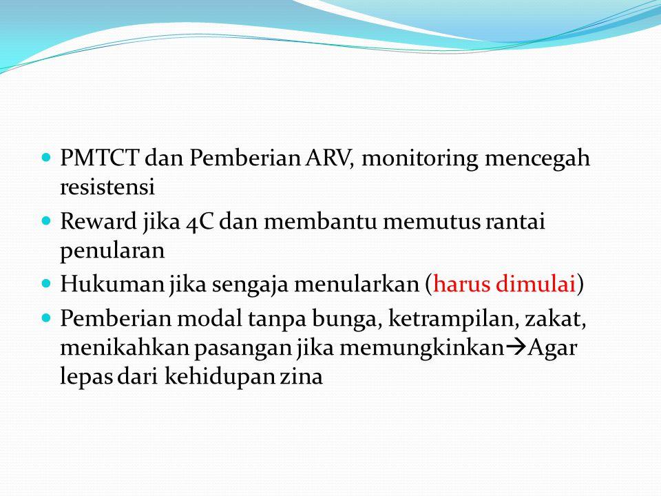 PMTCT dan Pemberian ARV, monitoring mencegah resistensi Reward jika 4C dan membantu memutus rantai penularan Hukuman jika sengaja menularkan (harus dimulai) Pemberian modal tanpa bunga, ketrampilan, zakat, menikahkan pasangan jika memungkinkan  Agar lepas dari kehidupan zina