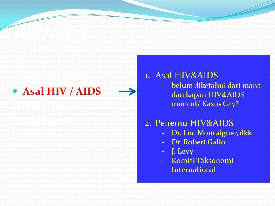 HIV/AIDS a. Informasi Umum ngertian HIV engertian AIDS Asal HIV / AIDS HIV&AIDS di Indonesia 1.Asal HIV&AIDS -belum diketahui dari mana dan kapan HIV&