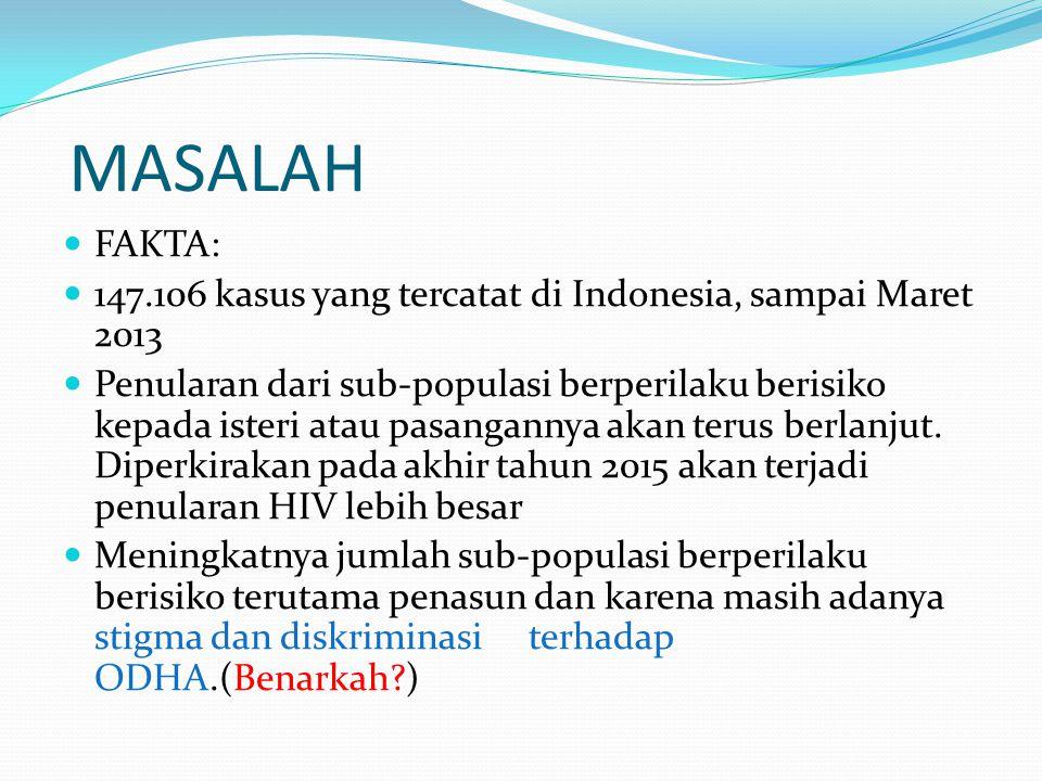 MASALAH FAKTA: 147.106 kasus yang tercatat di Indonesia, sampai Maret 2013 Penularan dari sub-populasi berperilaku berisiko kepada isteri atau pasangannya akan terus berlanjut.
