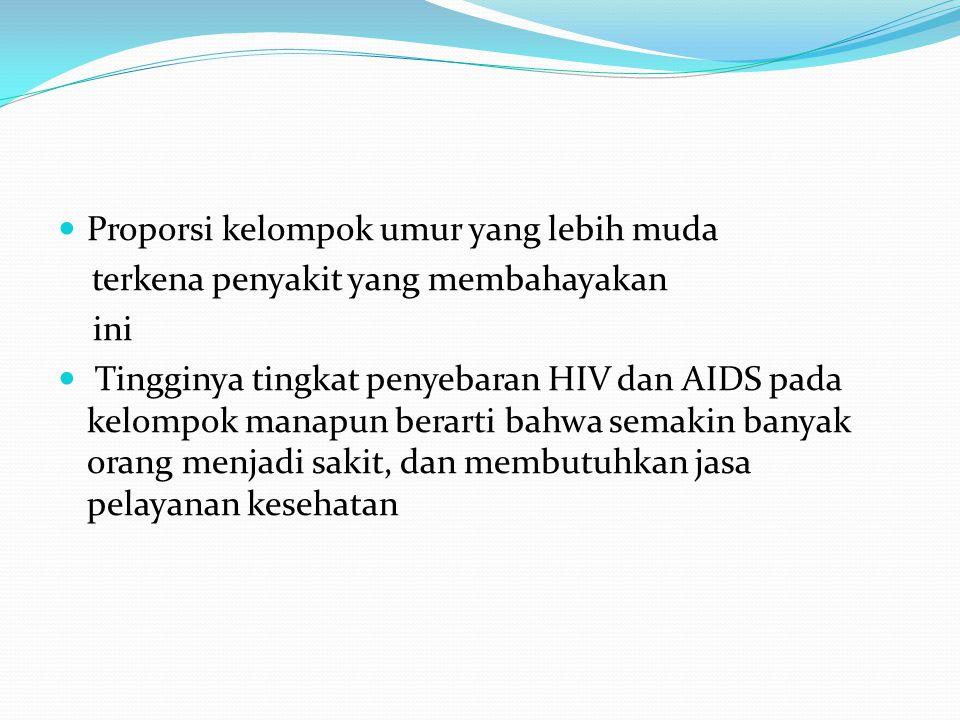 Proporsi kelompok umur yang lebih muda terkena penyakit yang membahayakan ini Tingginya tingkat penyebaran HIV dan AIDS pada kelompok manapun berarti bahwa semakin banyak orang menjadi sakit, dan membutuhkan jasa pelayanan kesehatan