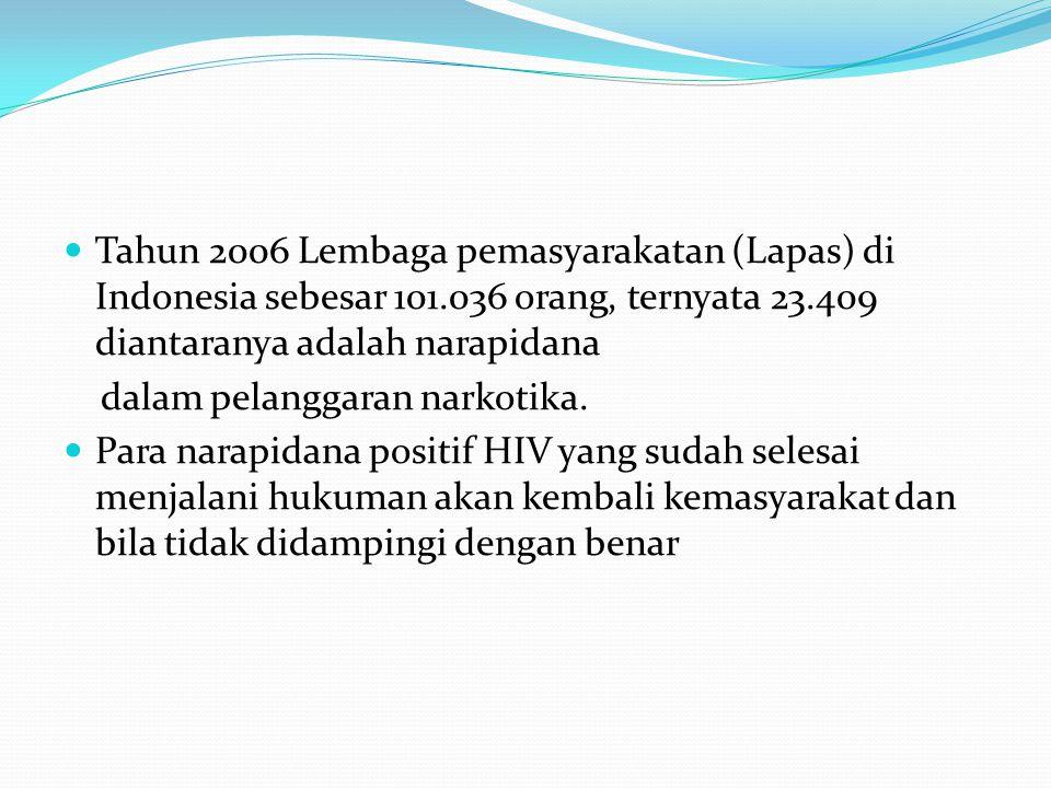 Tahun 2006 Lembaga pemasyarakatan (Lapas) di Indonesia sebesar 101.036 orang, ternyata 23.409 diantaranya adalah narapidana dalam pelanggaran narkotika.