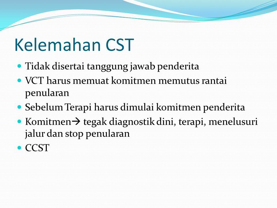 Kelemahan CST Tidak disertai tanggung jawab penderita VCT harus memuat komitmen memutus rantai penularan Sebelum Terapi harus dimulai komitmen penderita Komitmen  tegak diagnostik dini, terapi, menelusuri jalur dan stop penularan CCST