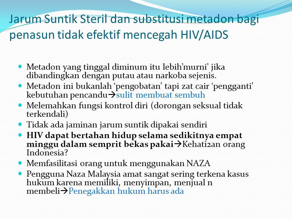 Jarum Suntik Steril dan substitusi metadon bagi penasun tidak efektif mencegah HIV/AIDS Metadon yang tinggal diminum itu lebih'murni' jika dibandingka