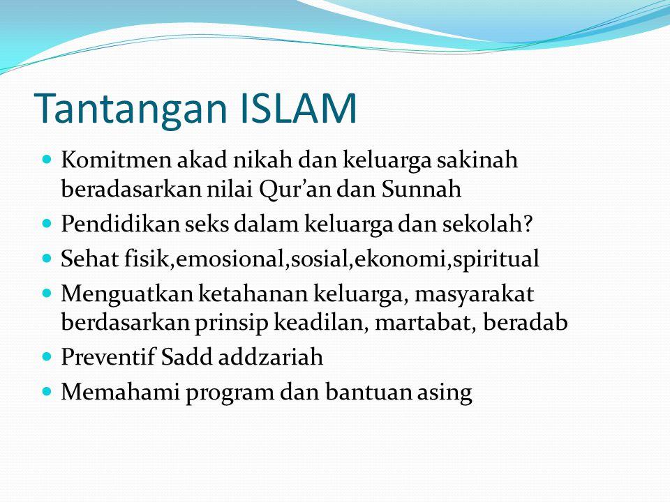 Tantangan ISLAM Komitmen akad nikah dan keluarga sakinah beradasarkan nilai Qur'an dan Sunnah Pendidikan seks dalam keluarga dan sekolah? Sehat fisik,