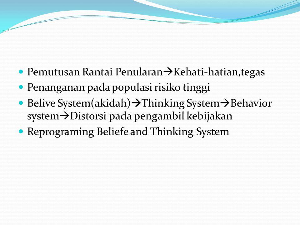 Pemutusan Rantai Penularan  Kehati-hatian,tegas Penanganan pada populasi risiko tinggi Belive System(akidah)  Thinking System  Behavior system  Distorsi pada pengambil kebijakan Reprograming Beliefe and Thinking System