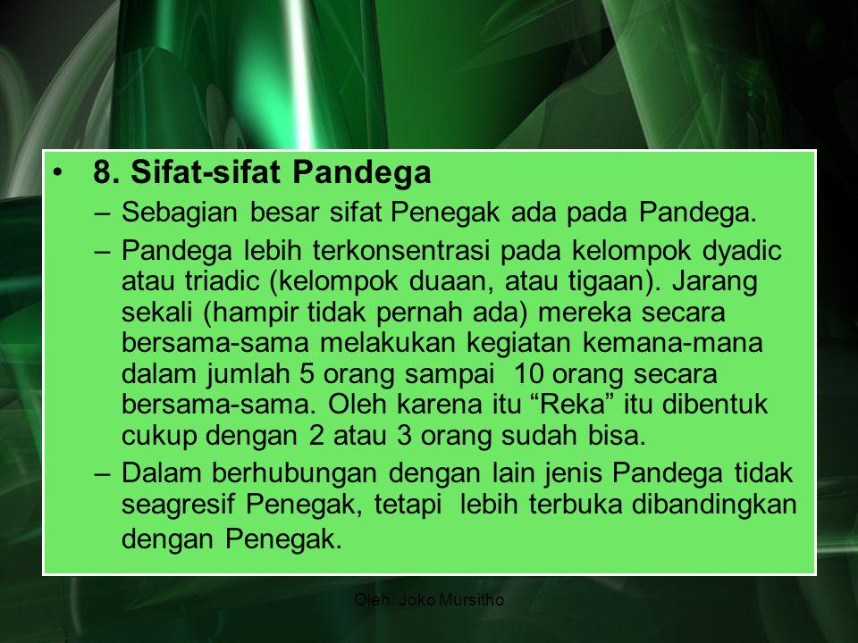 Oleh: Joko Mursitho 8. Sifat-sifat Pandega –Sebagian besar sifat Penegak ada pada Pandega. –Pandega lebih terkonsentrasi pada kelompok dyadic atau tri