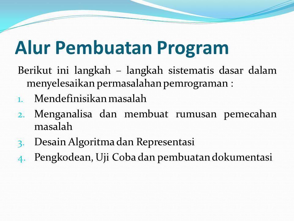Alur Pembuatan Program Berikut ini langkah – langkah sistematis dasar dalam menyelesaikan permasalahan pemrograman : 1.