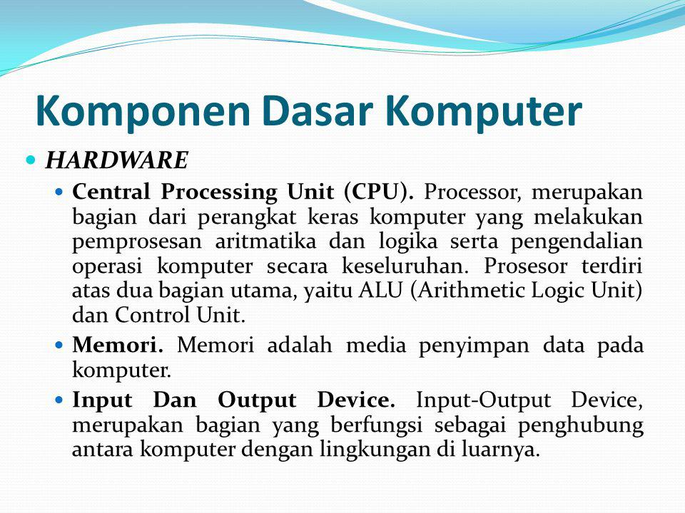 Komponen Dasar Komputer HARDWARE Central Processing Unit (CPU).