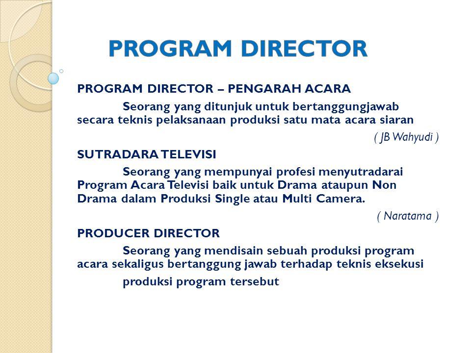 Seseorang yang bertugas untuk mengintegrasikan unsur-unsur pendukung produksi dalam sebuah produksi program acara televisi dan bertanggung jawab terhadap aspek teknis maupun estetis serta mampu menterjemahkan sebuah gagasan/ naskah/ rundown sebuah program acara ke dalam pelaksanaan produksi program siaran.