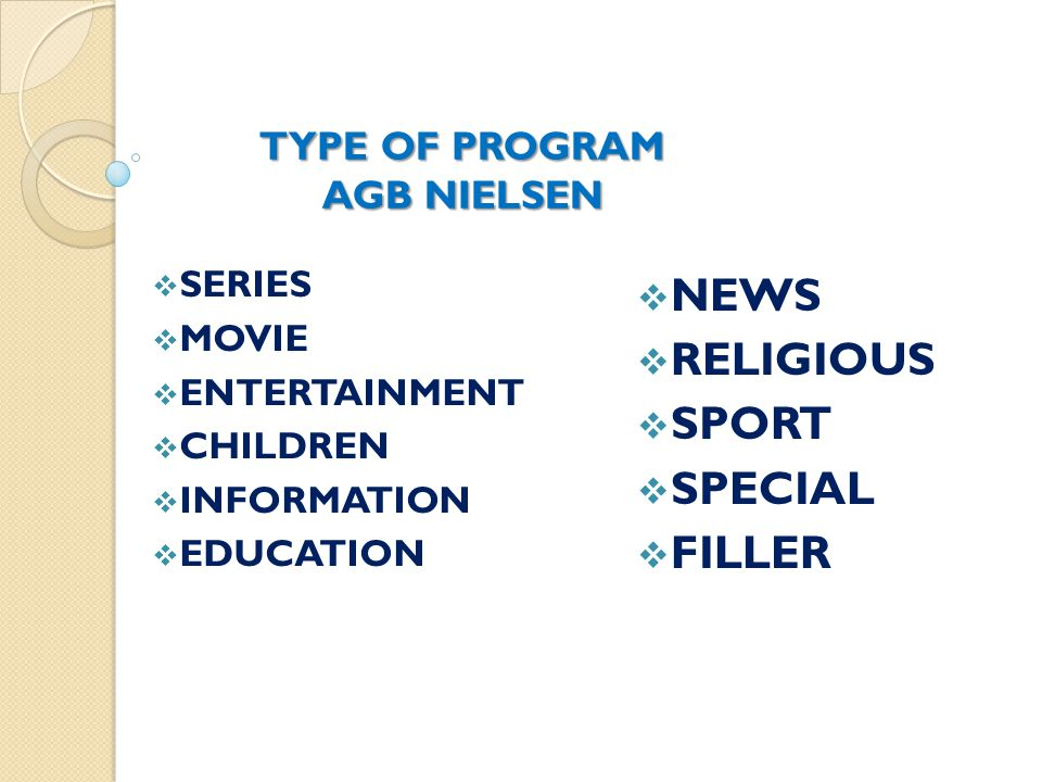  SERIES  MOVIE  ENTERTAINMENT  CHILDREN  INFORMATION  EDUCATION  NEWS  RELIGIOUS  SPORT  SPECIAL  FILLER TYPE OF PROGRAM AGB NIELSEN