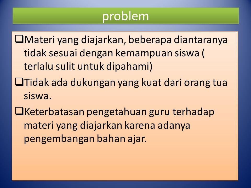 problem  Materi yang diajarkan, beberapa diantaranya tidak sesuai dengan kemampuan siswa ( terlalu sulit untuk dipahami)  Tidak ada dukungan yang ku