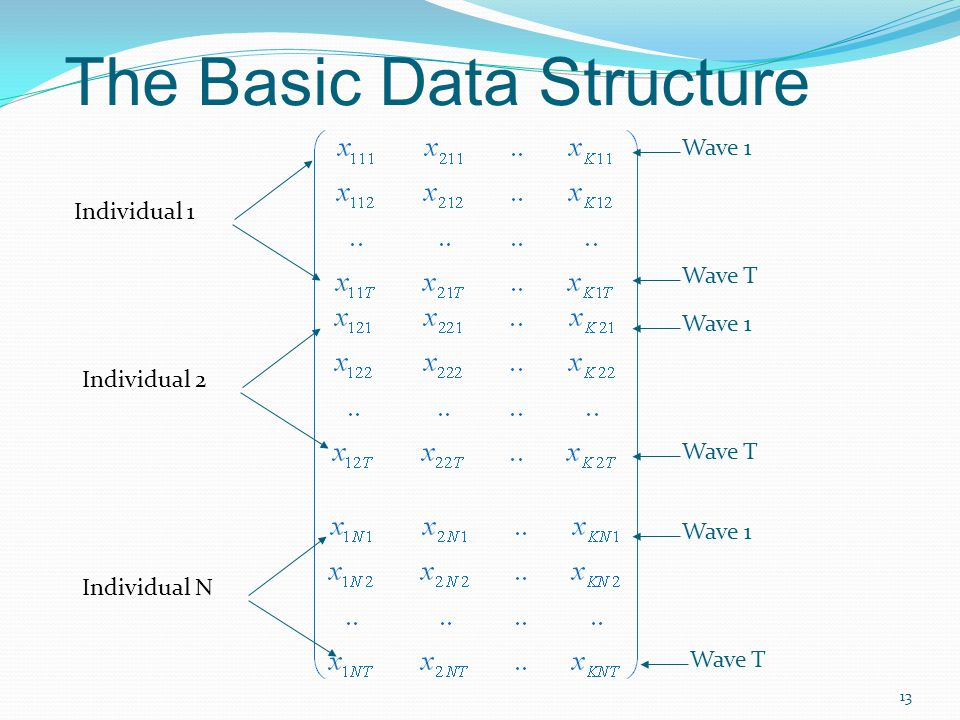 The Basic Data Structure 13 Individual 1 Wave 1 Wave T Wave 1 Wave T Wave 1 Wave T Individual 2 Individual N