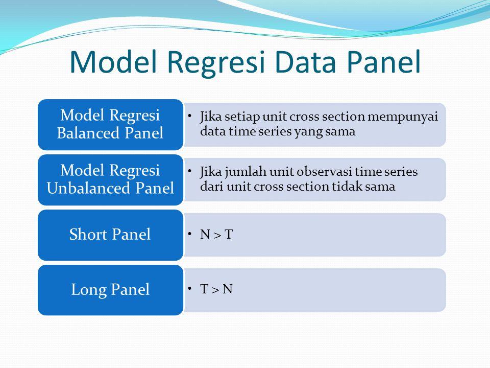 Model Regresi Data Panel Jika setiap unit cross section mempunyai data time series yang sama Model Regresi Balanced Panel Jika jumlah unit observasi t
