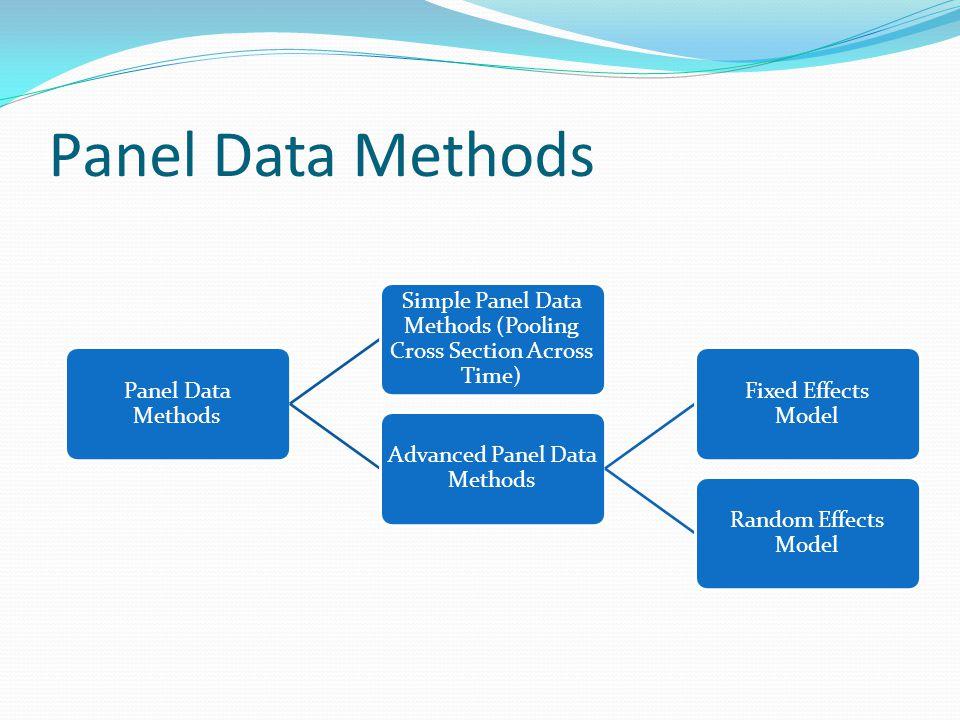 Panel Data Methods Simple Panel Data Methods (Pooling Cross Section Across Time) Advanced Panel Data Methods Fixed Effects Model Random Effects Model