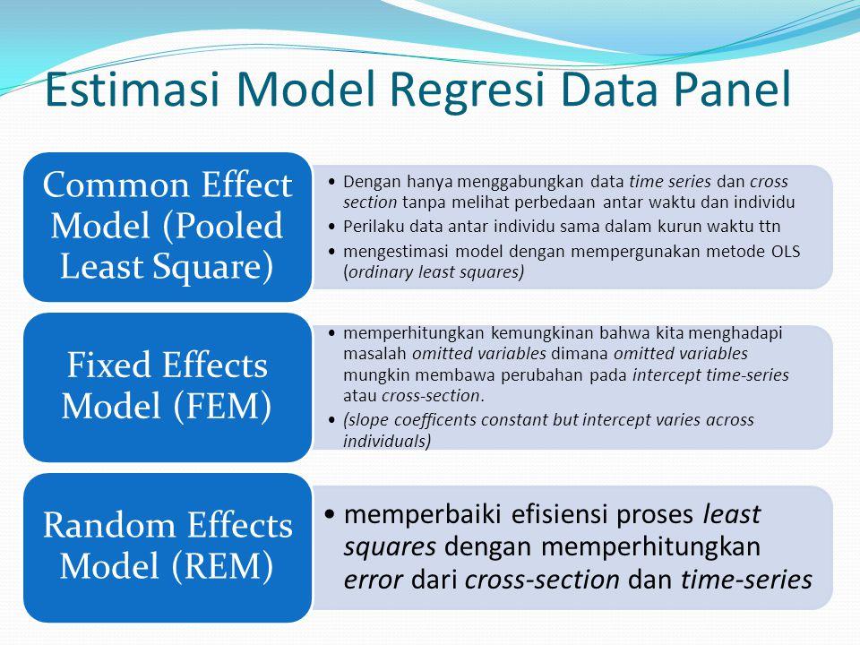 Estimasi Model Regresi Data Panel Dengan hanya menggabungkan data time series dan cross section tanpa melihat perbedaan antar waktu dan individu Peril