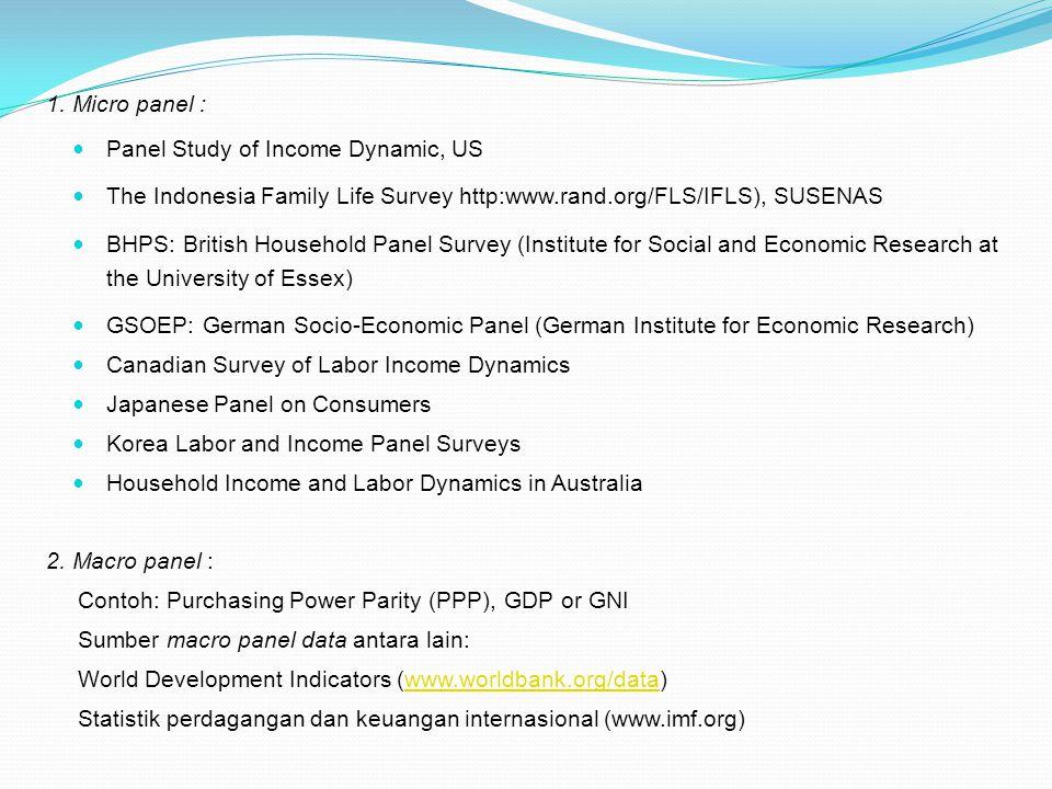 1. Micro panel : Panel Study of Income Dynamic, US The Indonesia Family Life Survey http:www.rand.org/FLS/IFLS), SUSENAS BHPS: British Household Panel