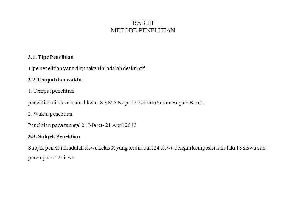 BAB III METODE PENELITIAN 3.1. Tipe Penelitian Tipe penelitian yang digunakan ini adalah deskriptif 3.2.Tempat dan waktu 1. Tempat penelitian peneliti