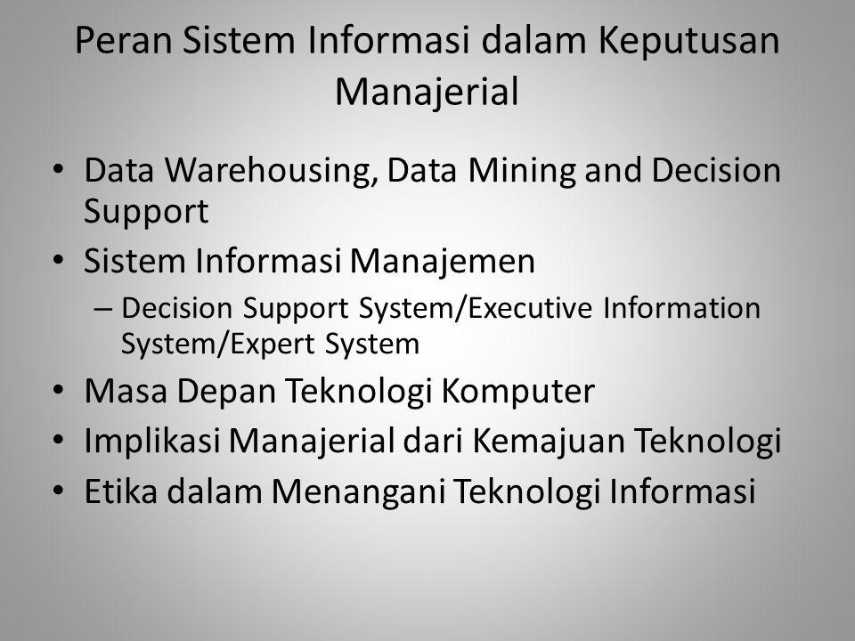 Peran Sistem Informasi dalam Keputusan Manajerial Data Warehousing, Data Mining and Decision Support Sistem Informasi Manajemen – Decision Support Sys
