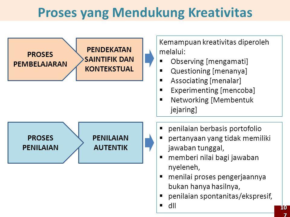 Kemampuan kreativitas diperoleh melalui:  Observing [mengamati]  Questioning [menanya]  Associating [menalar]  Experimenting [mencoba]  Networking [Membentuk jejaring] Proses yang Mendukung Kreativitas PENDEKATAN SAINTIFIK DAN KONTEKSTUAL  penilaian berbasis portofolio  pertanyaan yang tidak memiliki jawaban tunggal,  memberi nilai bagi jawaban nyeleneh,  menilai proses pengerjaannya bukan hanya hasilnya,  penilaian spontanitas/ekspresif,  dll PENILAIAN AUTENTIK PROSES PEMBELAJARAN PROSES PENILAIAN 107107