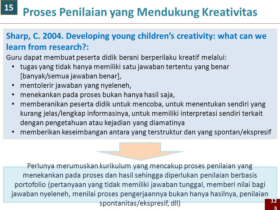 123 Proses Penilaian yang Mendukung Kreativitas Sharp, C. 2004. Developing young children's creativity: what can we learn from research?: Guru dapat m