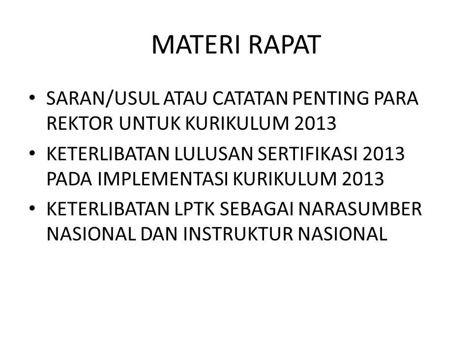 MATERI RAPAT SARAN/USUL ATAU CATATAN PENTING PARA REKTOR UNTUK KURIKULUM 2013 KETERLIBATAN LULUSAN SERTIFIKASI 2013 PADA IMPLEMENTASI KURIKULUM 2013 KETERLIBATAN LPTK SEBAGAI NARASUMBER NASIONAL DAN INSTRUKTUR NASIONAL