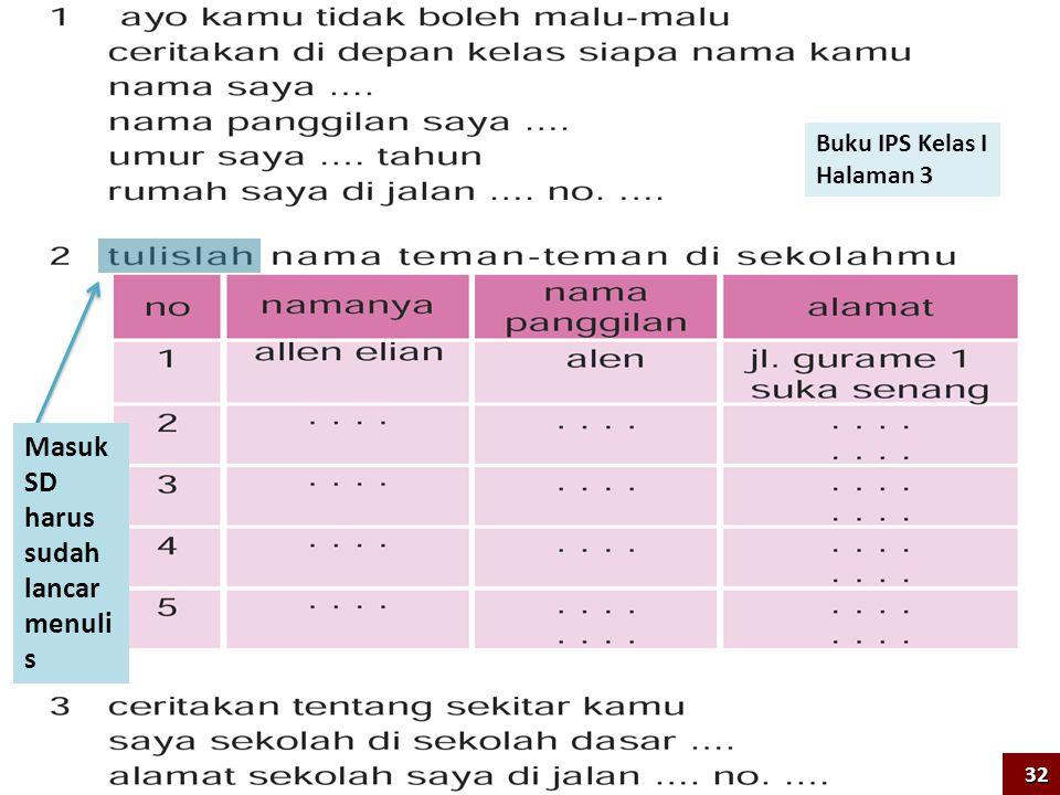 Buku IPS Kelas I Halaman 3 Masuk SD harus sudah lancar menuli s 32
