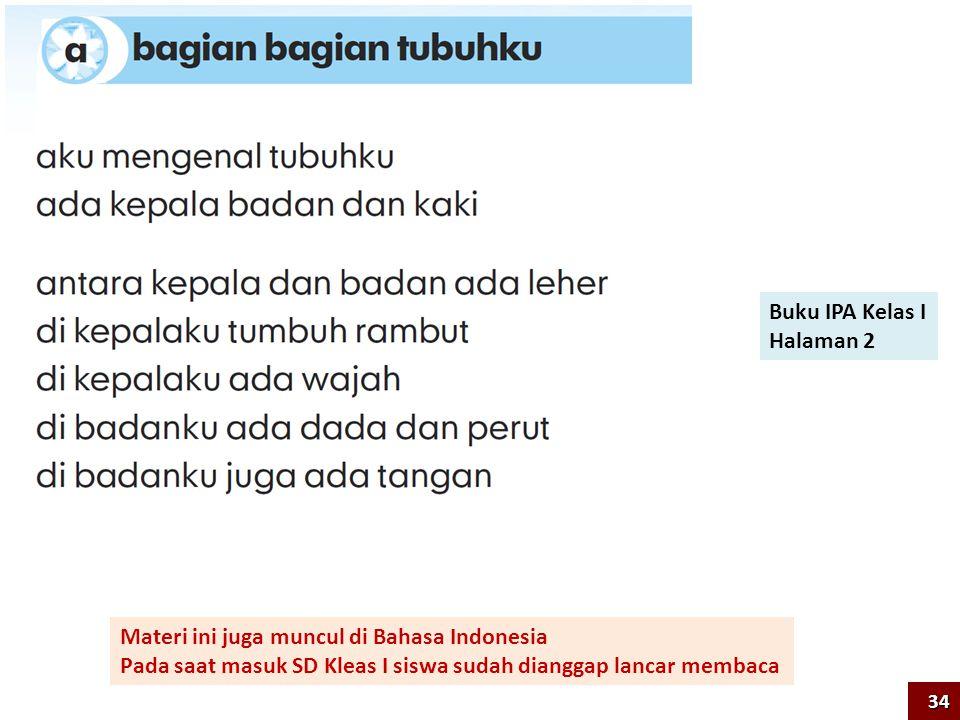 Buku IPA Kelas I Halaman 2 Materi ini juga muncul di Bahasa Indonesia Pada saat masuk SD Kleas I siswa sudah dianggap lancar membaca 34