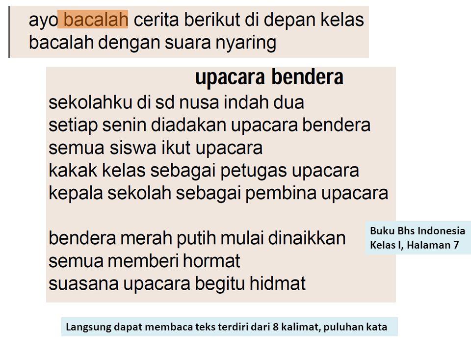 Buku Bhs Indonesia Kelas I, Halaman 7 Langsung dapat membaca teks terdiri dari 8 kalimat, puluhan kata
