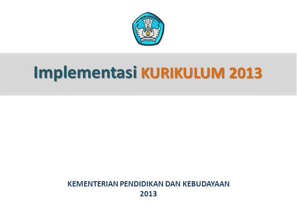 Implementasi KURIKULUM 2013 KEMENTERIAN PENDIDIKAN DAN KEBUDAYAAN 2013