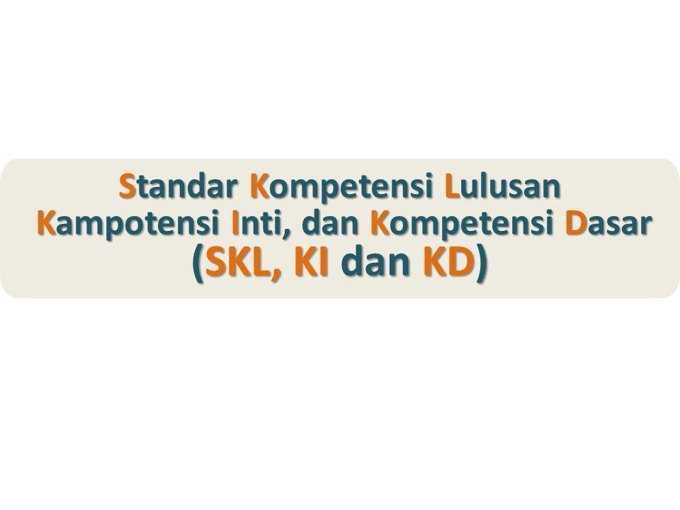 Standar Kompetensi Lulusan Kampotensi Inti, dan Kompetensi Dasar (SKL, KI dan KD) Kampotensi Inti, dan Kompetensi Dasar (SKL, KI dan KD)