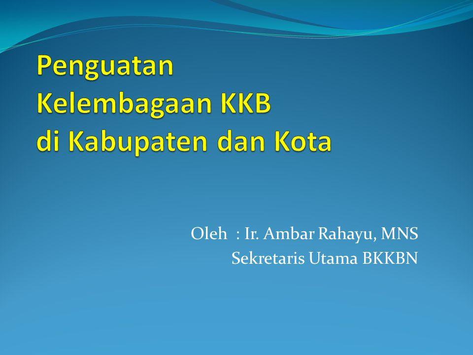 Oleh : Ir. Ambar Rahayu, MNS Sekretaris Utama BKKBN