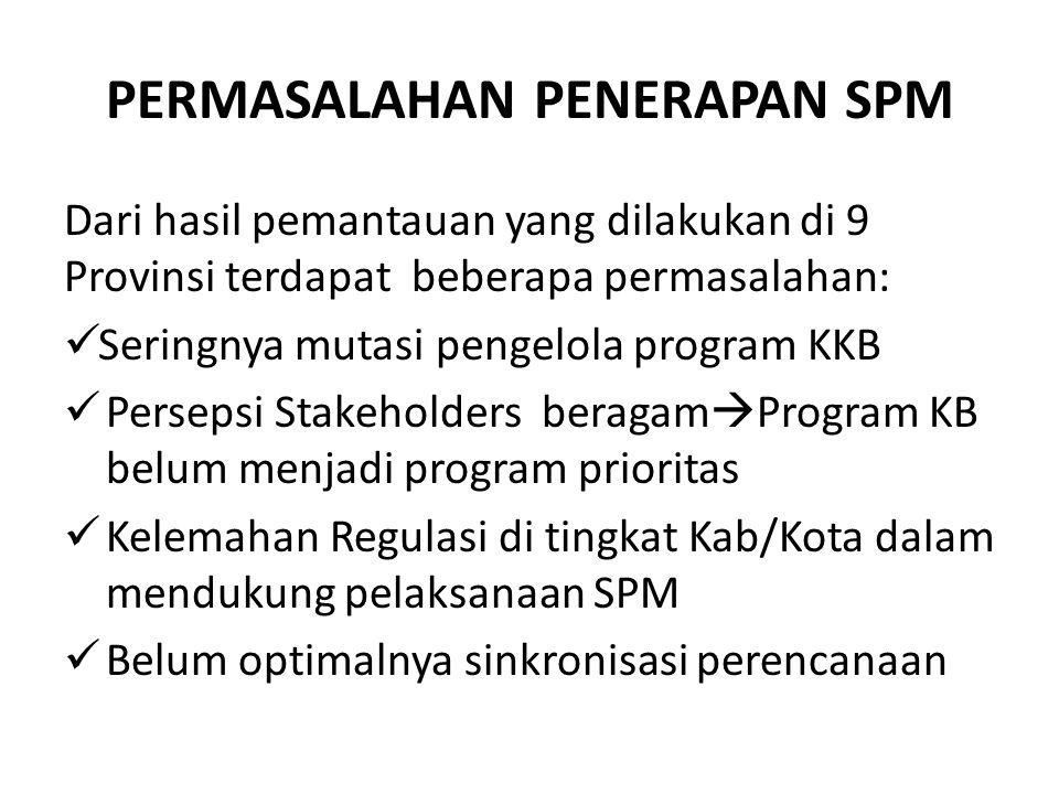 PERMASALAHAN PENERAPAN SPM Dari hasil pemantauan yang dilakukan di 9 Provinsi terdapat beberapa permasalahan: Seringnya mutasi pengelola program KKB P