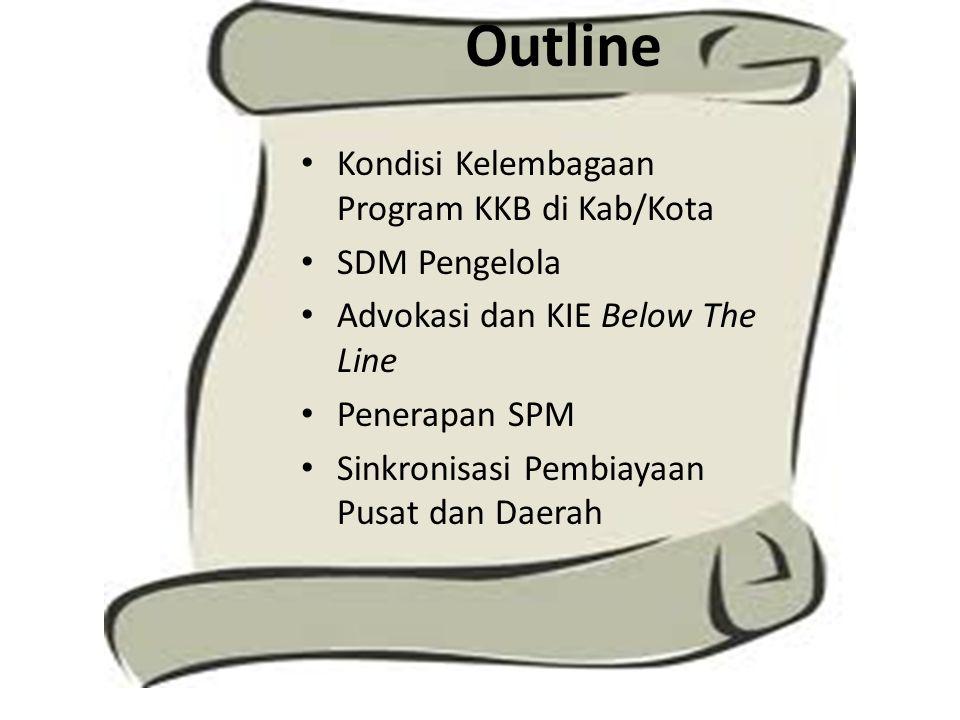 Outline Kondisi Kelembagaan Program KKB di Kab/Kota SDM Pengelola Advokasi dan KIE Below The Line Penerapan SPM Sinkronisasi Pembiayaan Pusat dan Daer