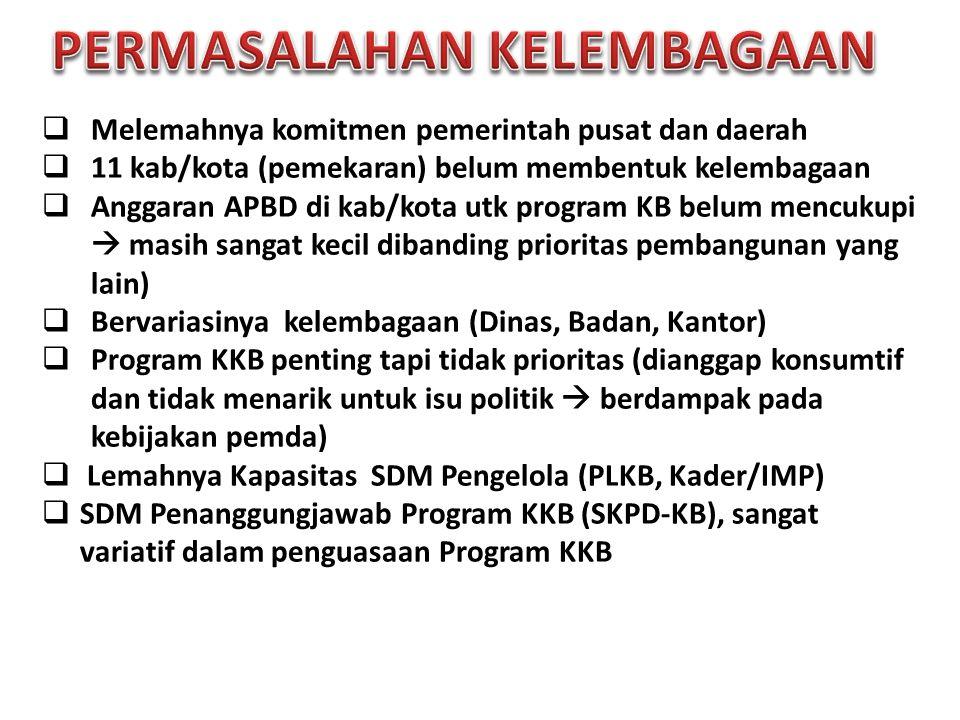  Melemahnya komitmen pemerintah pusat dan daerah  11 kab/kota (pemekaran) belum membentuk kelembagaan  Anggaran APBD di kab/kota utk program KB bel