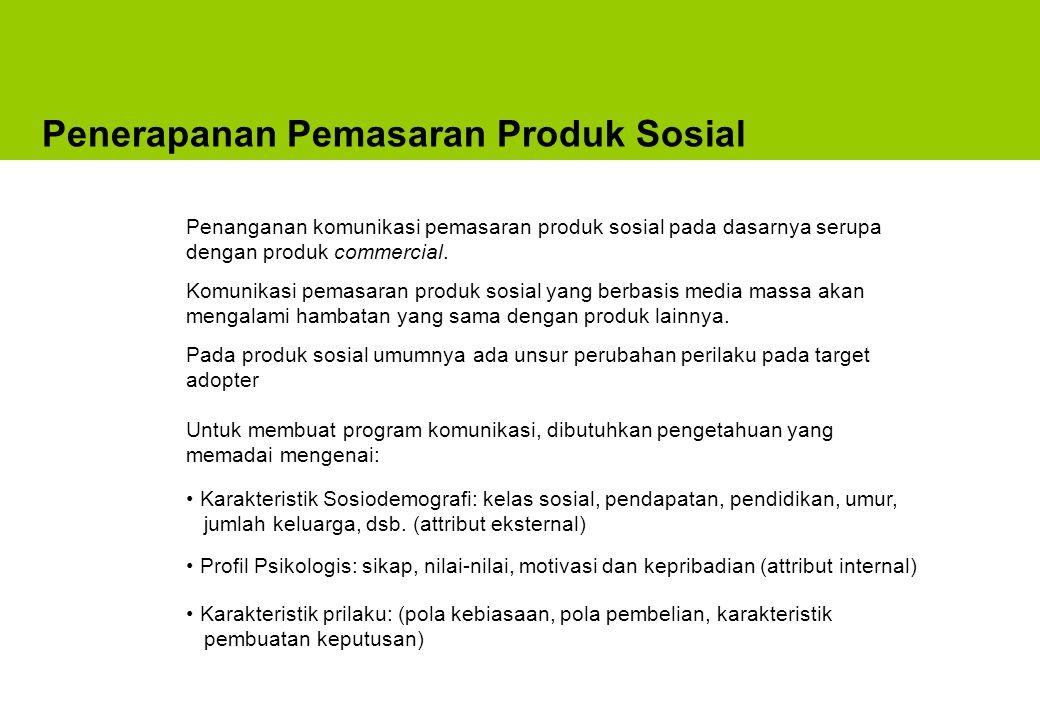 Sosial Marketing = Pendekatan Marketing untuk merubah Perilaku Produk Sosial Sebagai Solusi Dirancang Sebuah Masalah Diterapkan pada Kelompok Sasaran Diterima oleh Sebagai suatu cara Dirancang Kebutuhan/ keinginan Untuk memenuhi Sumber Pengganti untuk memenuhi cara Yang lebih baik dari Dinyatakan oleh Sumber Solusi Pengganti Yang lebih baik dari