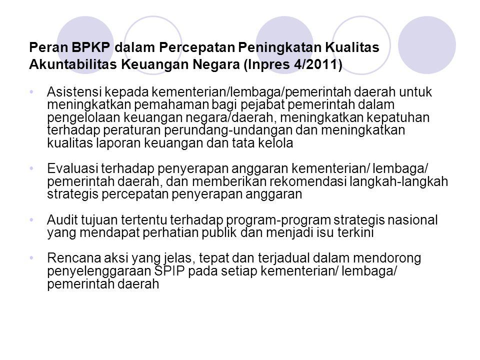 Peran BPKP dalam Percepatan Peningkatan Kualitas Akuntabilitas Keuangan Negara (Inpres 4/2011) Asistensi kepada kementerian/lembaga/pemerintah daerah