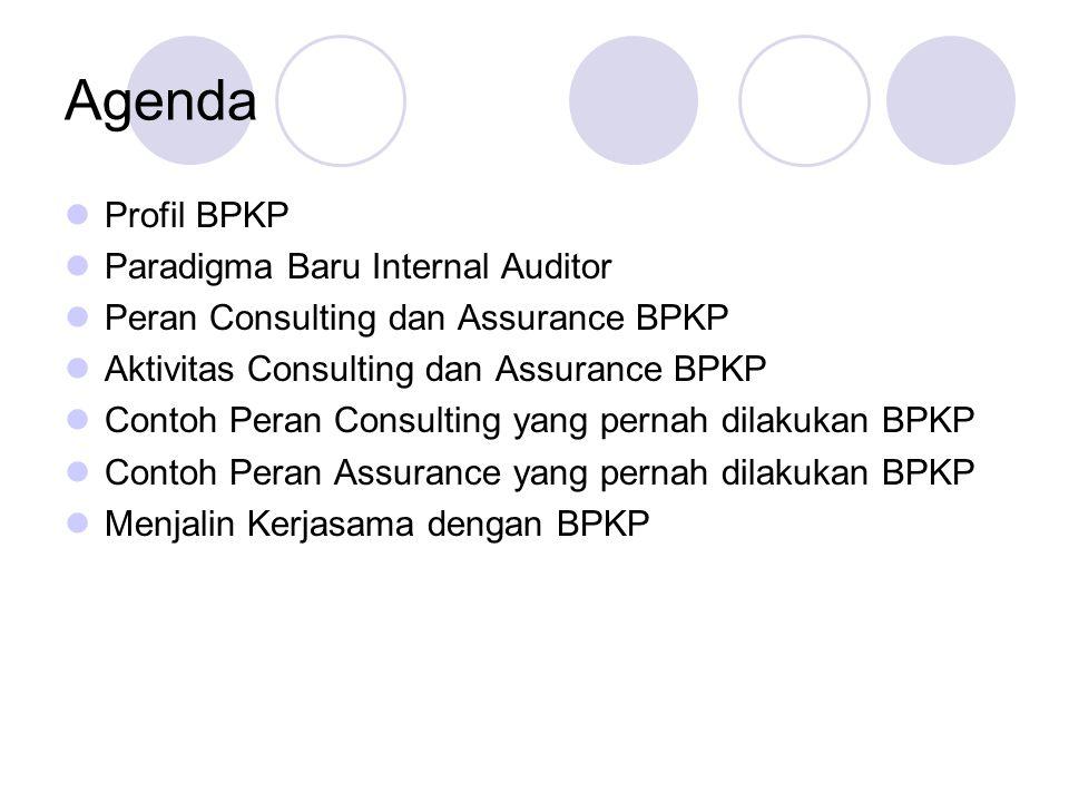 Agenda Profil BPKP Paradigma Baru Internal Auditor Peran Consulting dan Assurance BPKP Aktivitas Consulting dan Assurance BPKP Contoh Peran Consulting