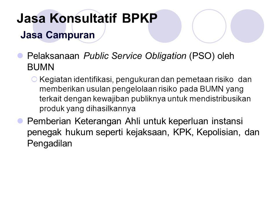 Jasa Konsultatif BPKP Jasa Campuran Pelaksanaan Public Service Obligation (PSO) oleh BUMN  Kegiatan identifikasi, pengukuran dan pemetaan risiko dan