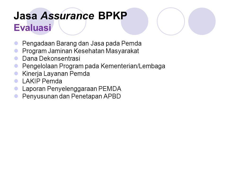 Jasa Assurance BPKP Evaluasi Pengadaan Barang dan Jasa pada Pemda Program Jaminan Kesehatan Masyarakat Dana Dekonsentrasi Pengelolaan Program pada Kem