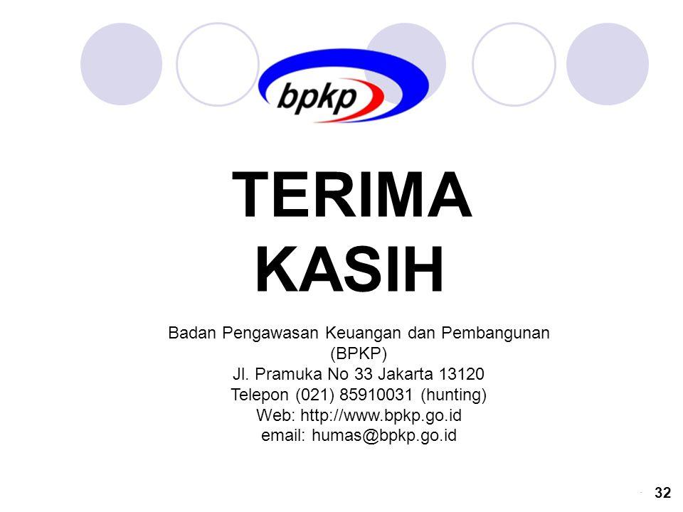 Badan Pengawasan Keuangan dan Pembangunan (BPKP) Jl. Pramuka No 33 Jakarta 13120 Telepon (021) 85910031 (hunting) Web: http://www.bpkp.go.id email: hu