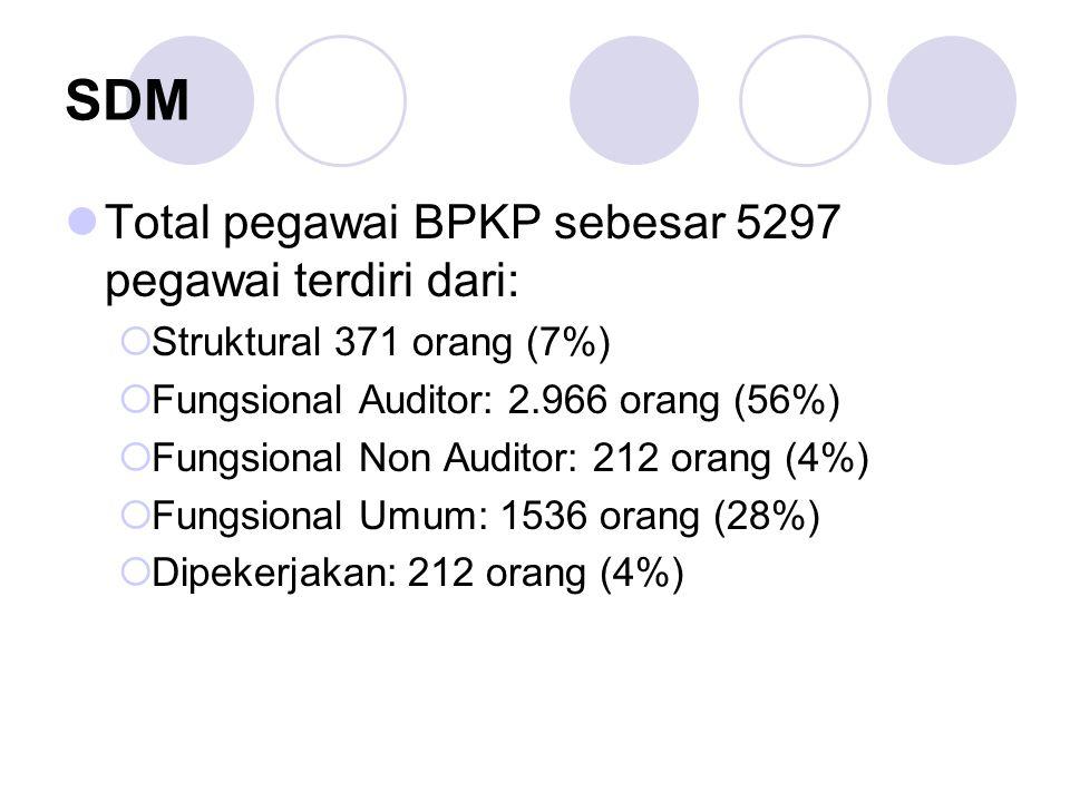 SDM Total pegawai BPKP sebesar 5297 pegawai terdiri dari:  Struktural 371 orang (7%)  Fungsional Auditor: 2.966 orang (56%)  Fungsional Non Auditor