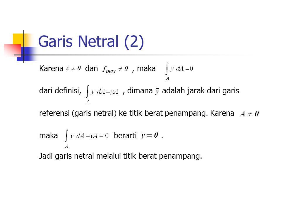 Garis Netral (2) Karena dan, maka dari definisi,, dimana adalah jarak dari garis referensi (garis netral) ke titik berat penampang. Karena maka berart