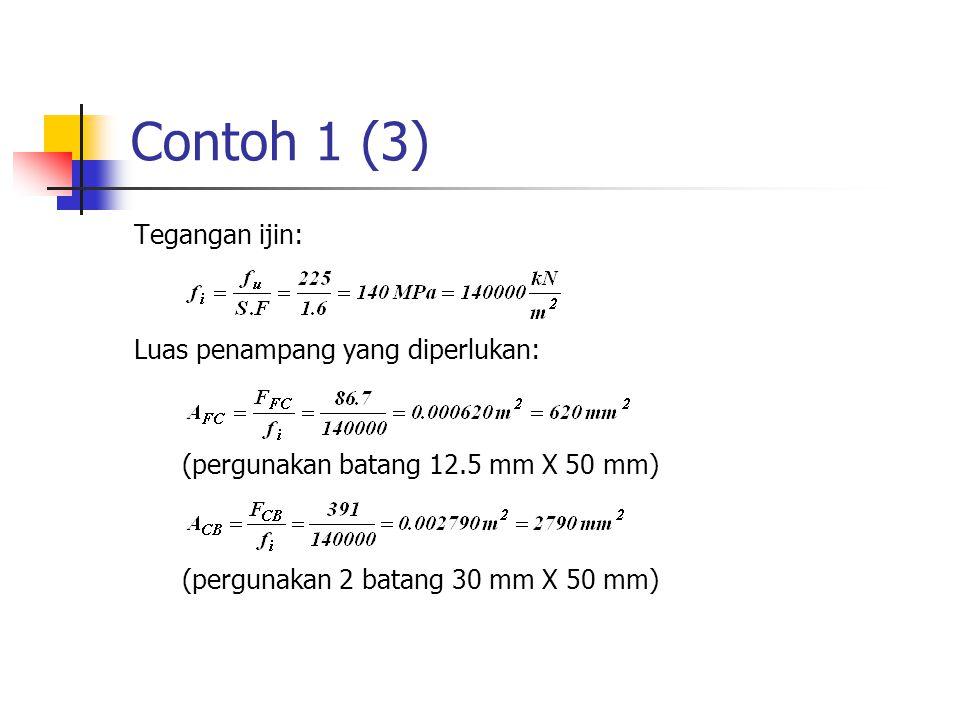 Contoh 1 (3) Tegangan ijin: Luas penampang yang diperlukan: (pergunakan batang 12.5 mm X 50 mm) (pergunakan 2 batang 30 mm X 50 mm)