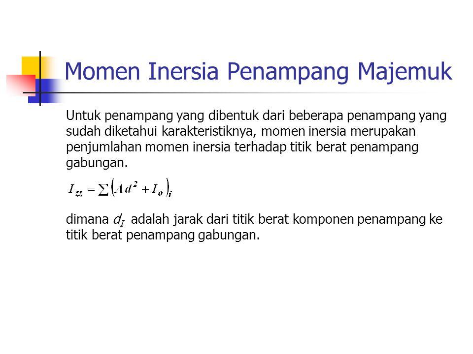 Momen Inersia Penampang Majemuk Untuk penampang yang dibentuk dari beberapa penampang yang sudah diketahui karakteristiknya, momen inersia merupakan p